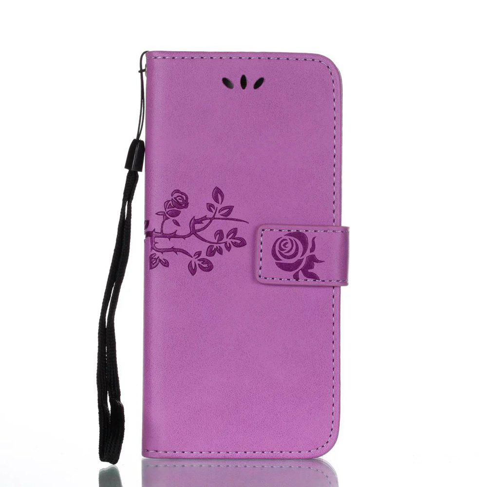 Unique Wkae Double-side Embossing Rose Flower Synthetic Leather Wallet Case Soft Silicone Back Cover with Flip Kickstand and Lanyard for Huawei P10