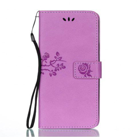 Shops Wkae Double-side Embossing Rose Flower Synthetic Leather Wallet Case Soft Silicone Back Cover with Flip Kickstand and Lanyard for Samsung Galaxy J7 2017