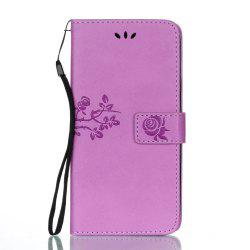 Wkae Double-side Embossing Rose Flower Synthetic Leather Wallet Case Soft Silicone Back Cover with Flip Kickstand and Lanyard for Samsung Galaxy J7 2017 -