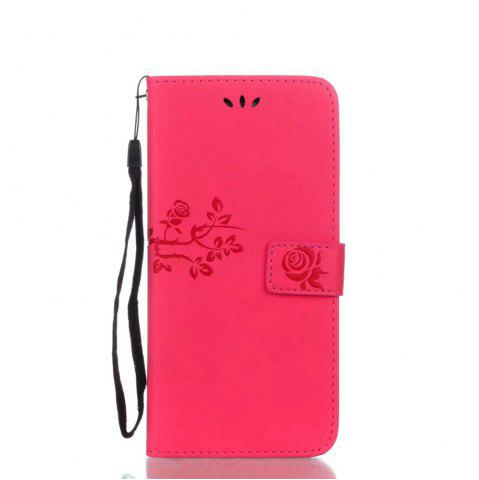 Online Wkae Double-side Embossing Rose Flower Synthetic Leather Wallet Case Soft Silicone Back Cover with Flip Kickstand and Lanyard for Samsung Galaxy S8 Plus