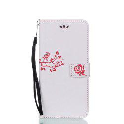 Wkae Double-side Embossing Rose Flower Synthetic Leather Wallet Case Soft Silicone Back Cover with Flip Kickstand and Lanyard for Samsung Galaxy S8 Plus -