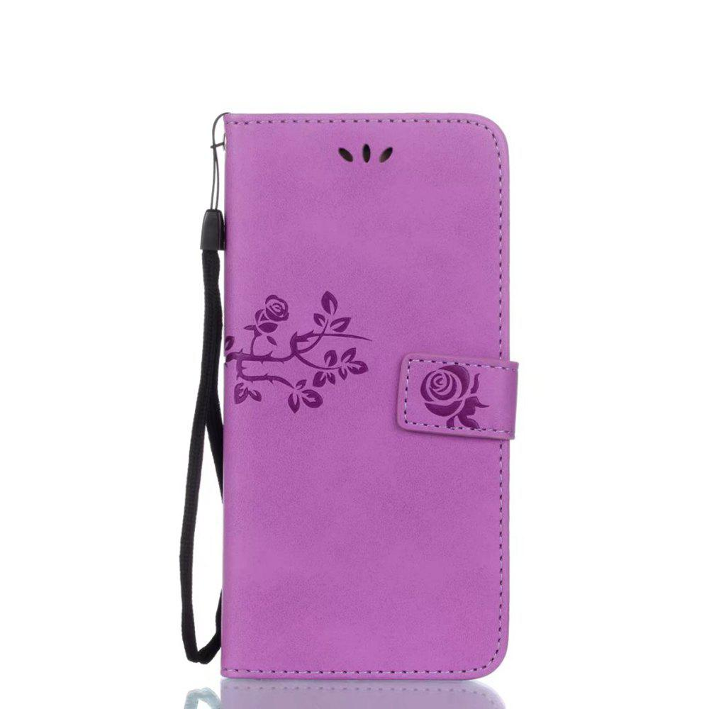 Sale Wkae Double-side Embossing Rose Flower Synthetic Leather Wallet Case Soft Silicone Back Cover with Flip Kickstand and Lanyard for Samsung Galaxy S8 Plus