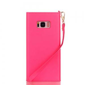 Wkae Stylish V-shape Magnetic Flap PU Leather Case Silicone Cover with Lanyard for Samsung Galaxy S8 Plus -