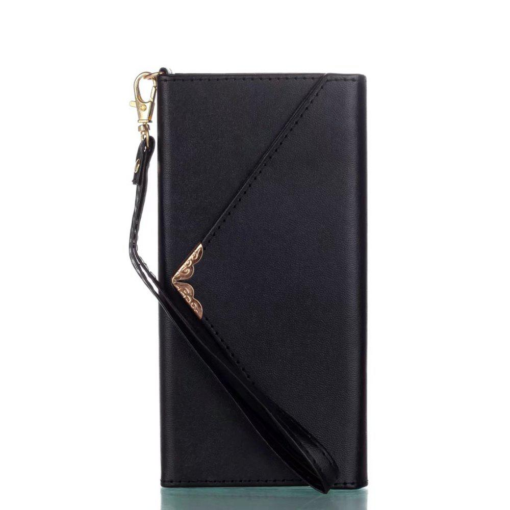 Online Wkae Stylish V-shape Magnetic Flap PU Leather Case Silicone Cover with Lanyard for Samsung Galaxy S8 Plus