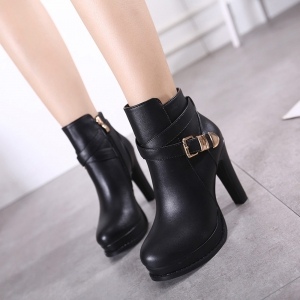 Womens Ankle Boots Solid Color Hasp Decor High Heel Boots -