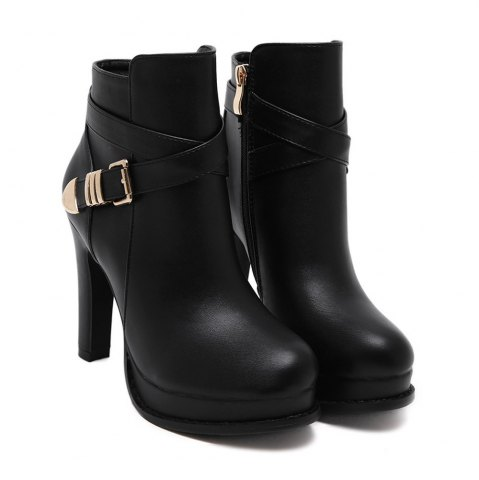 New Womens Ankle Boots Solid Color Hasp Decor High Heel Boots