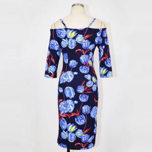 Womens Sheath Dress V Neck Half Sleeve Floral Pattern Midi Pencil Dress -