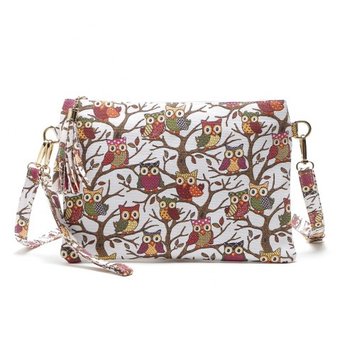 Fancy Cartoon Owl Printed Small Crossbody Bag