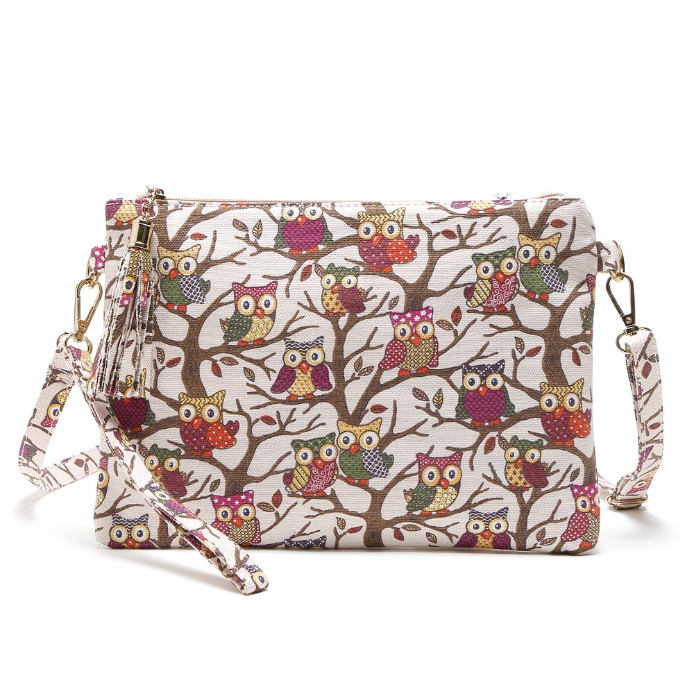 Cartoon Owl Printed Small Crossbody BagSHOES &amp; BAGS<br><br>Size: 1PC; Color: BEIGE; Handbag Type: Crossbody bag; Style: Casual; Gender: For Women; Embellishment: Tassel; Pattern Type: Character; Handbag Size: Small(20-30cm); Closure Type: Zipper; Interior: Cell Phone Pocket,Interior Zipper Pocket; Occasion: Versatile; Main Material: Canvas; With Pendant: No; Hardness: Soft; Strap Length: 135cm;