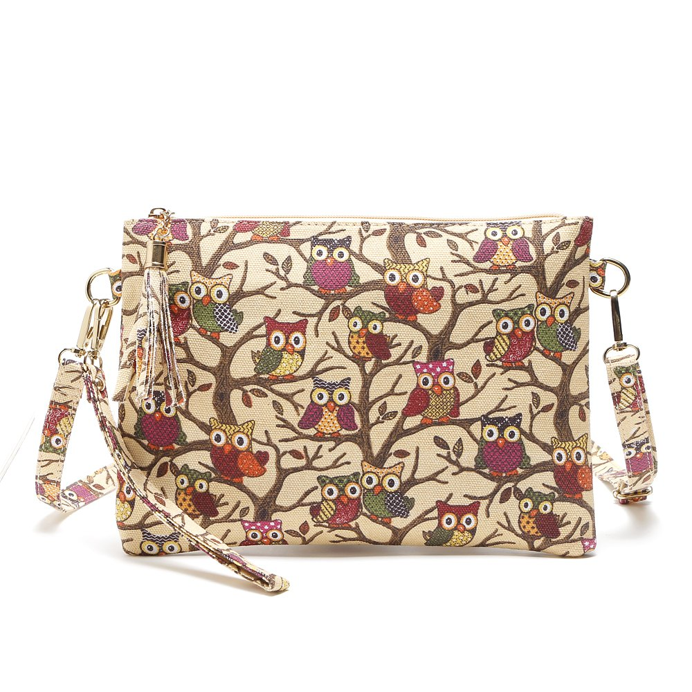 Cartoon Owl Printed Small Crossbody BagSHOES &amp; BAGS<br><br>Size: 1PC; Color: LIGHT YELLOW; Handbag Type: Crossbody bag; Style: Casual; Gender: For Women; Embellishment: Tassel; Pattern Type: Character; Handbag Size: Small(20-30cm); Closure Type: Zipper; Interior: Cell Phone Pocket,Interior Zipper Pocket; Occasion: Versatile; Main Material: Canvas; With Pendant: No; Hardness: Soft; Strap Length: 135cm;
