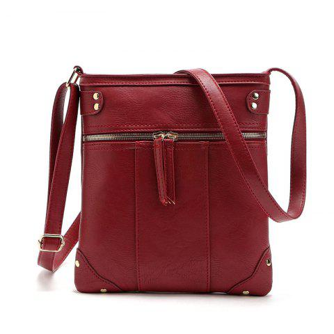 Trendy Solid Color Zipper Rivets Crossbody Bag