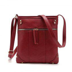 Solid Color Zipper Rivets Crossbody Bag -