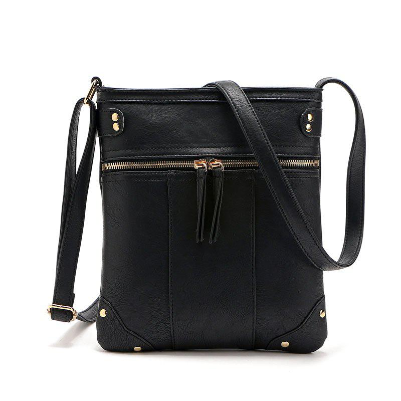 Solid Color Zipper Rivets Crossbody BagSHOES &amp; BAGS<br><br>Size: 1PC; Color: BLACK; Handbag Type: Crossbody bag; Style: Casual; Gender: For Women; Embellishment: Rivet; Pattern Type: Solid; Handbag Size: Small(20-30cm); Closure Type: Zipper; Interior: Cell Phone Pocket,Interior Zipper Pocket; Occasion: Versatile; Main Material: PU; With Pendant: No; Hardness: Soft; Strap Length: 135;