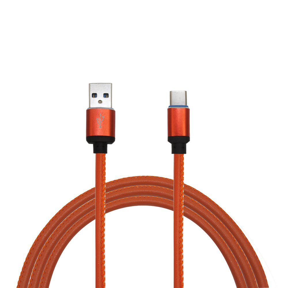 Mini Smile 3.4A Quick Charge Leather Type-C To Usb Charging Cable with High-Speed Data Transmission 100CMHOME<br><br>Color: JACINTH;