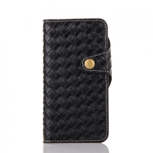 Weave Pattern Mesh Pu + Tpu Flip Open Wallet Leather Case with Stand / Card Slots for iPhone 8 -