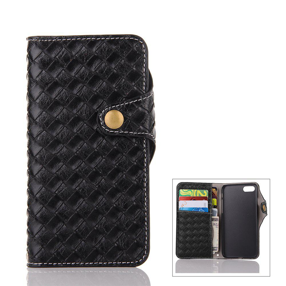 Shop Weave Pattern Mesh Pu + Tpu Flip Open Wallet Leather Case with Stand / Card Slots for iPhone 8