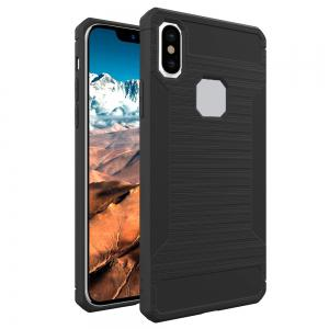 Mini Smile Anti-Slip Wire Drawing Carbon Fiber + Tpu Style Protective Back Case Cover for Iphone x -