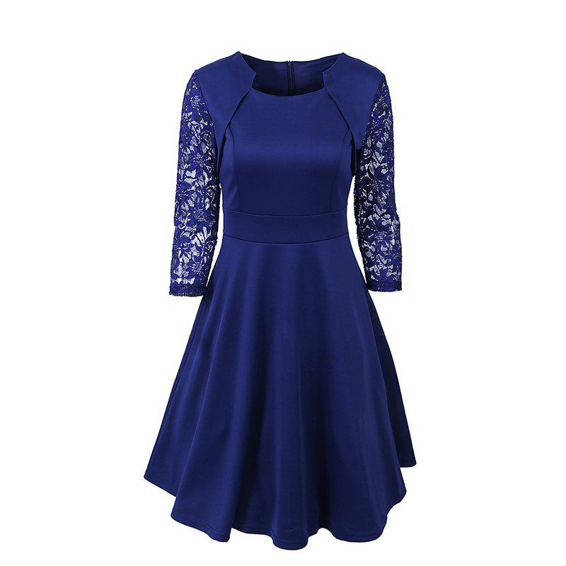 50S 60S Style Vintage Dresses Cocktail Rockabilly Women Lace 3/4 Sleeve A Line Cocktail Swing DressWOMEN<br><br>Size: 2XL; Color: NAVY BLUE; Style: Work; Occasion: Casual,Cocktail &amp; Party,Evening,Going Out,Office,Prom,Work; Material: Lace,Polyester,Spandex; Silhouette: A-Line; Dress Type: Tunic Dress; Dresses Length: Knee-Length; Neckline: Square Collar; Sleeve Length: 3/4 Length Sleeves; Embellishment: Lace; Pattern Type: Others; Elasticity: Elastic; With Belt: No; Season: Fall; Weight: 0.4000kg; Package Contents: 1 x Dress;
