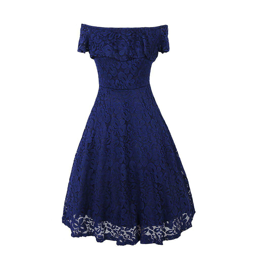 Sexy Off Shoulder Floral Lace Party Swing Dresses Women Dress Cascading Ruffle Lace Casual Formal A Line DressWOMEN<br><br>Size: 2XL; Color: NAVY BLUE; Style: Sexy &amp; Club; Material: Lace,Polyester; Fabric Type: Lace; Silhouette: A-Line; Dresses Length: Knee-Length; Neckline: Slash Neck; Sleeve Type: Off The Shoulder; Sleeve Length: Short Sleeves; Embellishment: Lace; Pattern Type: Others; Elasticity: Elastic; With Belt: No; Season: Summer; Weight: 0.3500kg; Package Contents: 1 x Dress;