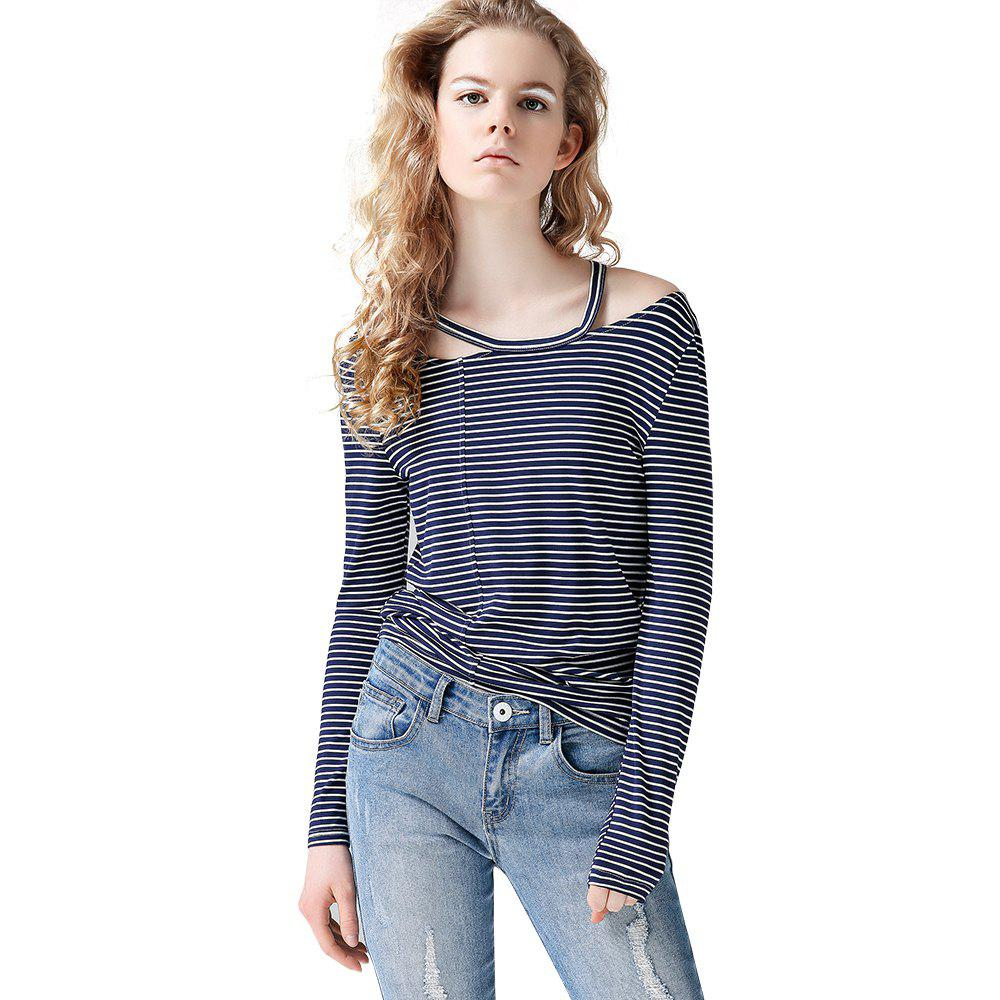 daff9512a52bc Online Toyouth T Shirt Hollow Out Striped Cold Shoulder Tops O-Neck Casual Long  Sleeve