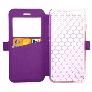 Yc Lingogwen Window Card Lanyard Pu Leather pour Iphone 8 Plus -