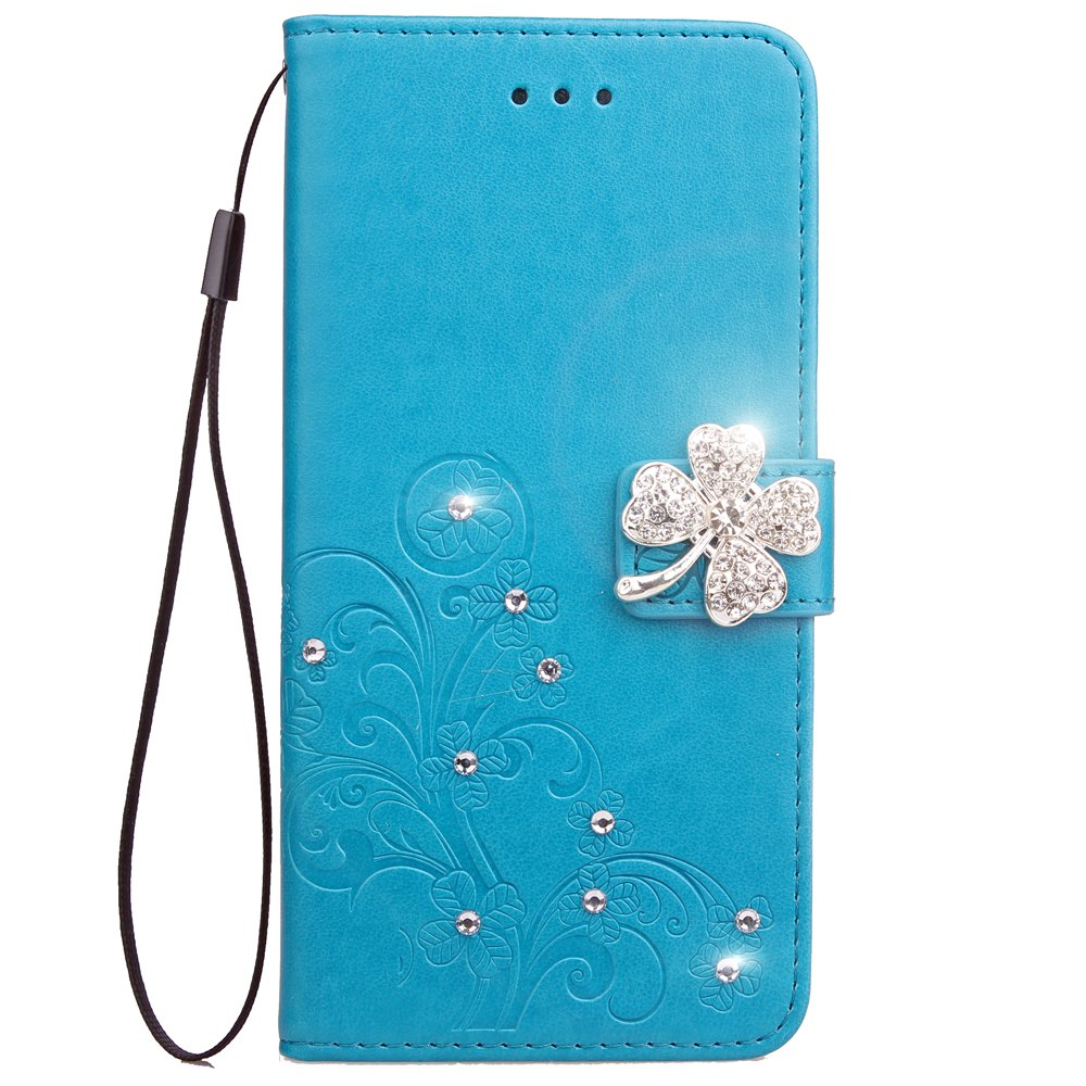 Trendy Yc  Clover Stick Drill Card Lanyard Pu Leather for Iphone 7 Plus
