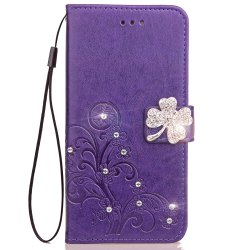 Yc Lucky Clover Stick Drill Card Lanyard Pu B Leather for Samsung S8 Plus -