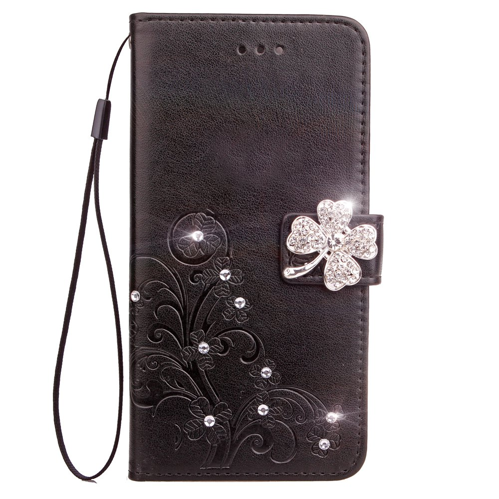 Outfits Yc Lucky Clover Stick Drill Card Lanyard Pu B Leather for Samsung S8 Plus