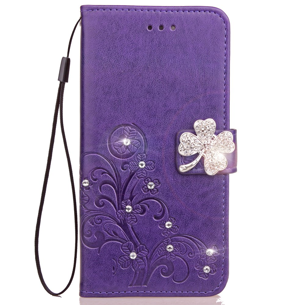 Best Yc Lucky Clover Stick Drill Card Lanyard Pu B Leather for Samsung S8 Plus