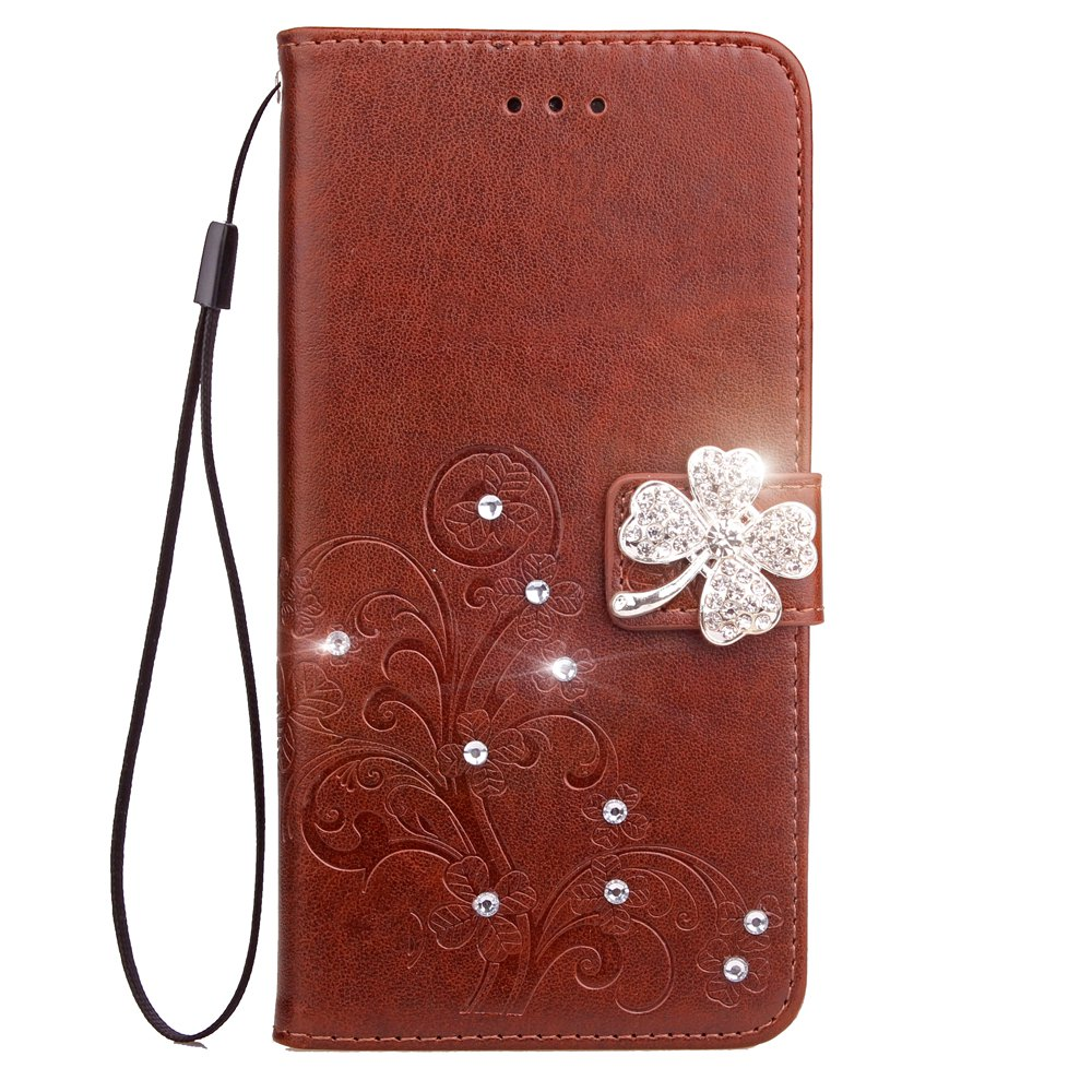 Fashion Yc Lucky Clover Stick Drill Card Lanyard Pu B Leather for Samsung S8 Plus