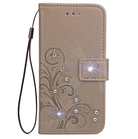 Yc Lucky Clover Stick Drill Card Lanyard Pu Leather pour Iphone 8 Plus