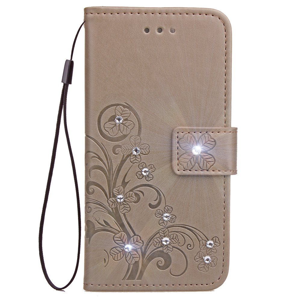 Online Yc Lucky Clover Stick Drill Card Lanyard Pu Leather for Iphone 8 Plus