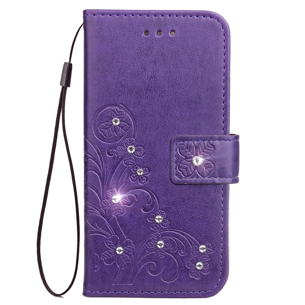 Fancy Yc Lucky Clover Stick Drill Card Lanyard Pu Leather for Iphone 8 Plus