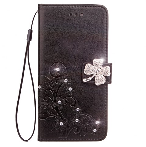 Yc Lucky Clover Stick Drill Card Lanyard B Pu Leather pour Iphone 8 Plus