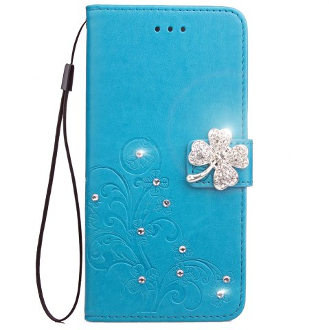 Unique Yc Lucky Clover Stick Drill Card Lanyard B Pu Leather for Iphone 8 Plus