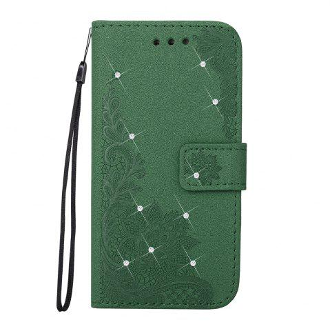 Affordable Wkae Embossed Phenix Flower Bling Shining Resin Rhinestone Pattern PU Leather Wallet Case with Lanyard Card Slots for Samsung Galaxy A5 2017