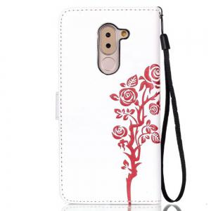 Wkae Double Side Embossing Rose Flower Synthetic Leather Wallet Case Soft Silicone Back Cover with Flip Kickstand And Lanyard for Huawei Hornor 6X -