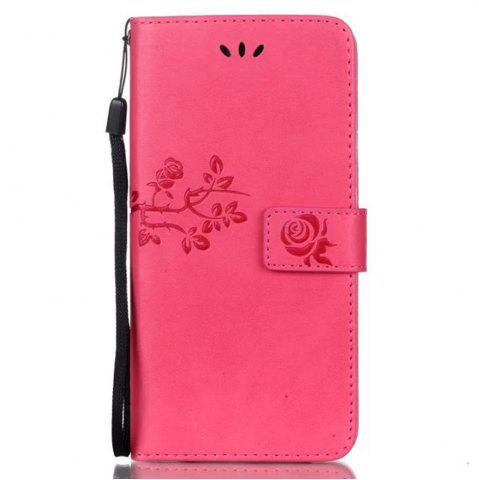 New Wkae Double Side Embossing Rose Flower Synthetic Leather Wallet Case Soft Silicone Back Cover with Flip Kickstand And Lanyard for Huawei Hornor 6X
