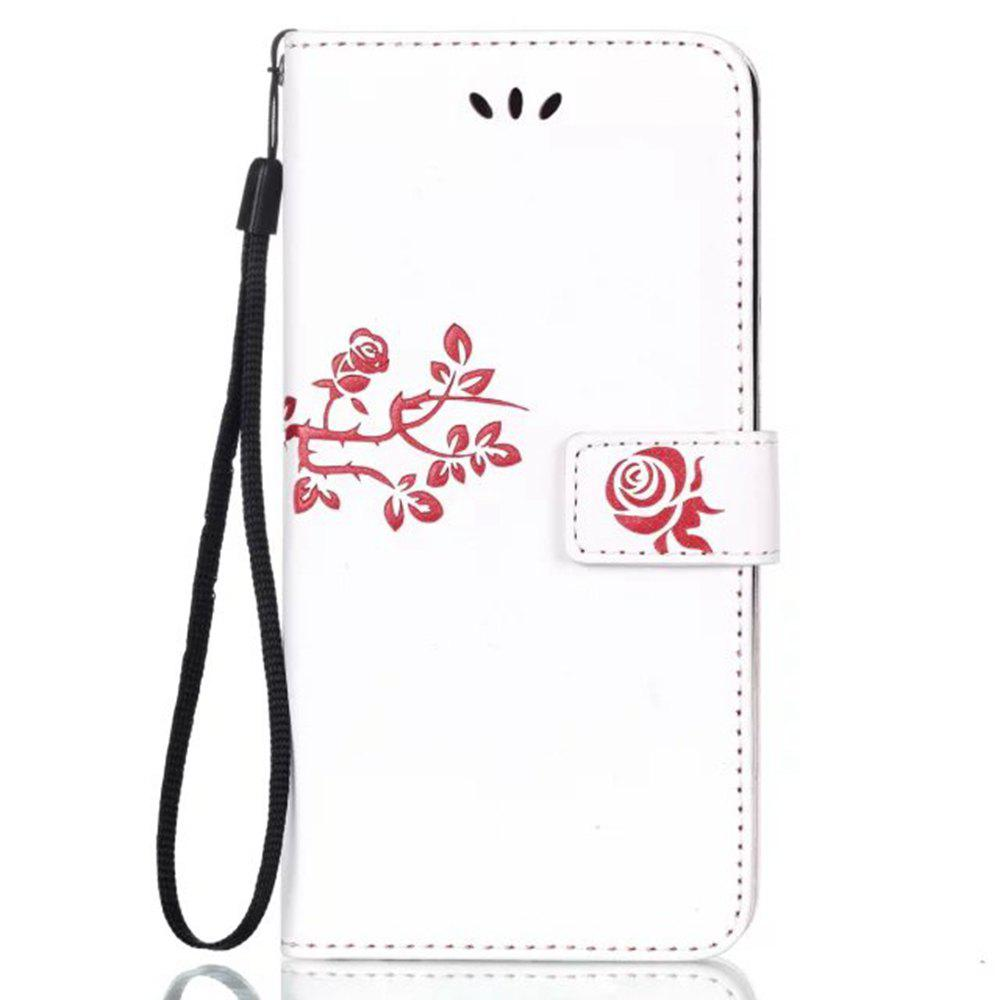 Cheap Wkae Double Side Embossing Rose Flower Synthetic Leather Wallet Case Soft Silicone Back Cover with Flip Kickstand And Lanyard for Huawei Hornor 6X