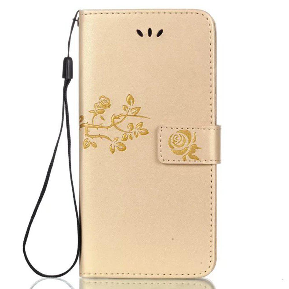 Shops Wkae Double Side Embossing Rose Flower Synthetic Leather Wallet Case Soft Silicone Back Cover with Flip Kickstand And Lanyard for Huawei Hornor 6X