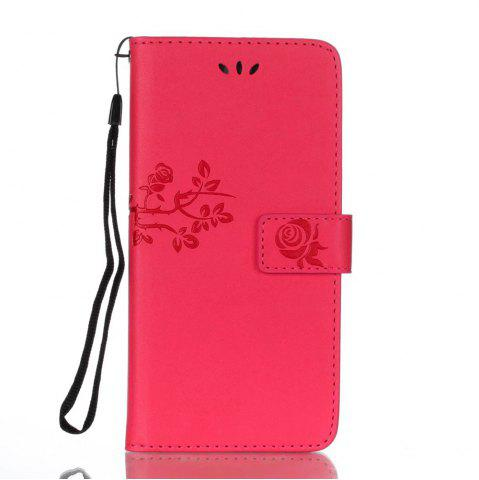 Trendy Wkae Double Side Embossing Rose Flower Synthetic Leather Wallet Case Soft Silicone Back Cover with Flip Kickstand And Lanyard for Huawei Mate 9 Pro