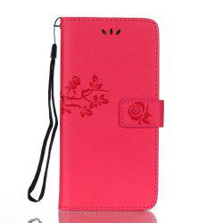 Wkae Double Side Embossing Rose Flower Synthetic Leather Wallet Case Soft Silicone Back Cover with Flip Kickstand And Lanyard for Huawei Mate 9 Pro -