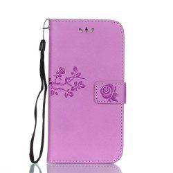 Wkae Double Side Embossing Rose Flower Synthetic Leather Wallet Case Soft Silicone Back Cover with Flip Kickstand And Lanyard for Huawei P8 Lite 2017 -