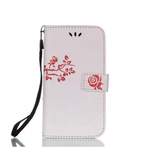 Best Wkae Double Side Embossing Rose Flower Synthetic Leather Wallet Case Soft Silicone Back Cover with Flip Kickstand And Lanyard for Samsung Galaxy A3 2017