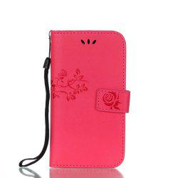 Wkae Double Side Embossing Rose Flower Synthetic Leather Wallet Case Soft Silicone Back Cover with Flip Kickstand And Lanyard for Samsung Galaxy A3 2017 -