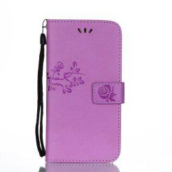 Wkae Double Side Embossing Rose Flower Synthetic Leather Wallet Case Soft Silicone Back Cover with Flip Kickstand And Lanyard for Samsung Galaxy A5 2017 -