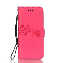 Wkae Double Face Embossing Rose Flower Carré En Cuir Synthétique Housse Douce Silicone Back Cover Avec Flip Kickstand Et Lanyard Pour Samsung Galaxy S8 -