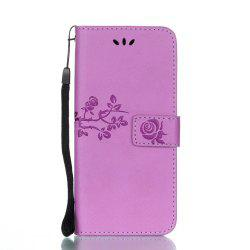 Wkae Double Side Embossing Rose Flower Synthetic Leather Wallet Case Soft Silicone Back Cover with Flip Kickstand And Lanyard for Samsung Galaxy S8 -
