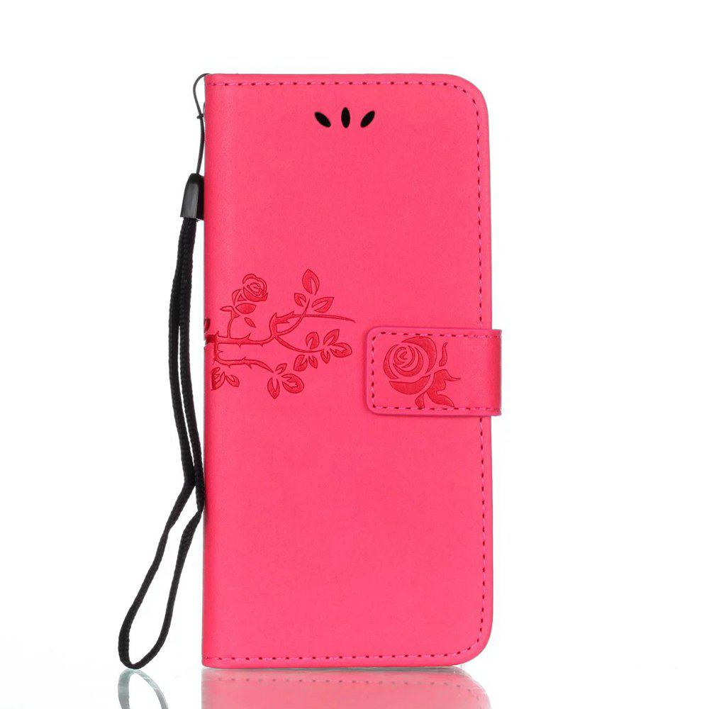 Unique Wkae Double Side Embossing Rose Flower Synthetic Leather Wallet Case Soft Silicone Back Cover with Flip Kickstand And Lanyard for Samsung Galaxy S8