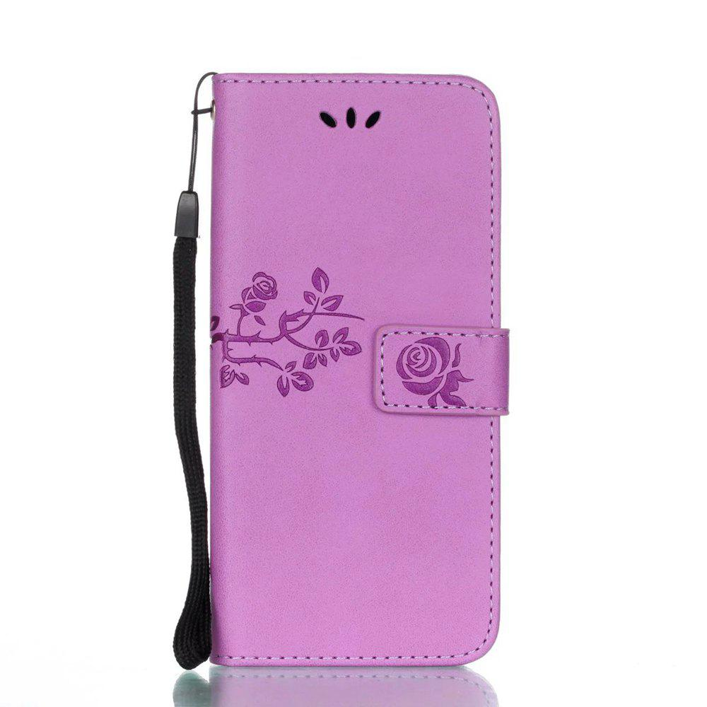 Latest Wkae Double Side Embossing Rose Flower Synthetic Leather Wallet Case Soft Silicone Back Cover with Flip Kickstand And Lanyard for Samsung Galaxy S8